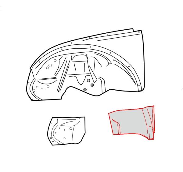 Radhaus / Innenkotflügel Reparaturblech vorne links Bild 2