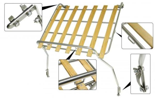 Gepäckträger Edelstahl / Holz Bild 1