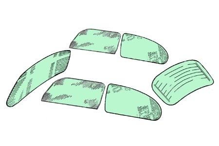 Scheibenset grün getönt One-Piece 8/64»7/71 | 1200 8/77» Bild 1