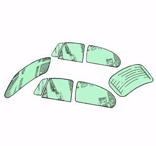 Scheibenset grün getönt Standard 1200 | 1300 | 1302 8/71»7/77 Bild 1